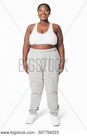 Size inclusive fashion white and gray sportswear apparel studio shot