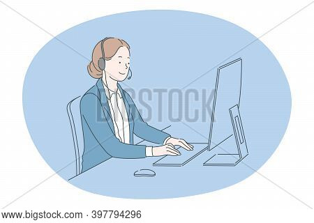 Job, Career, Working In Office Concept. Young Woman Call Center Operator Specialist On Headphones Wo