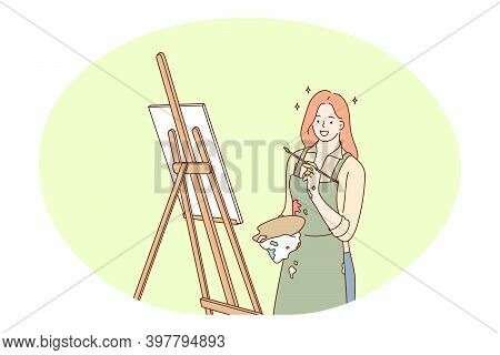 Artwork, Creative Professions, Occupation Concept. Young Smiling Woman Professional Painter Artist D