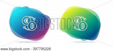Set Line Cryptocurrency Exchange Icon Isolated On White Background. Bitcoin To Euro Exchange Icon. C