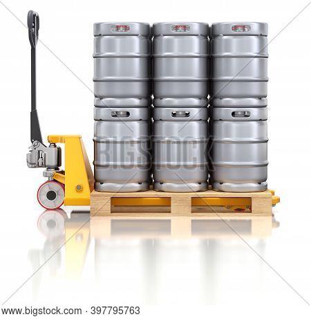 Metal Beer Kegs On Pallet Jack - 3d Illustration