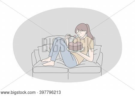Unhealthy Eating, Fast And Junk Food, Calories Concept. Young Stressed Unhappy Girl Cartoon Characte