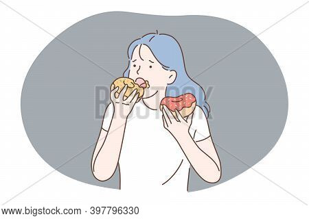 Unhealthy Eating, Fast And Junk Food, Calories Concept. Young Stressed Girl Cartoon Character Eating