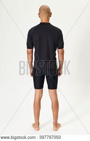 Men's black short sleeve swimsuit full body shot