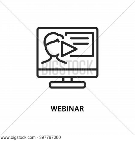 Webinar Flat Line Icon. Vector Illustration Video Training On A Laptop