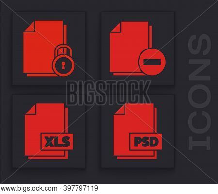 Set Psd File Document, Document And Lock, Document With Minus And Xls File Document Icon. Vector