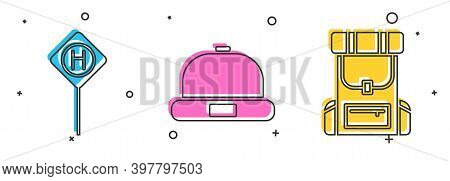Set Parking, Beanie Hat And Hiking Backpack Icon. Vector