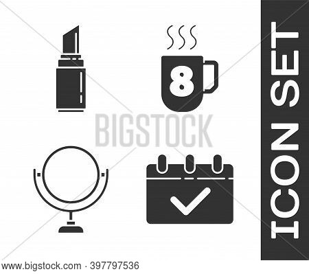 Set Calendar With 8 March, Lipstick, Round Makeup Mirror And Coffee Cup With 8 March Icon. Vector