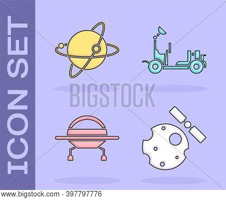 Set Satellites Orbiting The Planet Earth, Satellites Orbiting The Planet Earth, Ufo Flying Spaceship