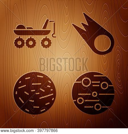 Set Planet Mars, Mars Rover, Planet Venus And Comet Falling Down Fast On Wooden Background. Vector