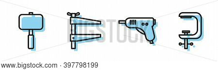 Set Line Electric Hot Glue Gun, Sledgehammer, Clamp Tool And Clamp And Screw Tool Icon. Vector