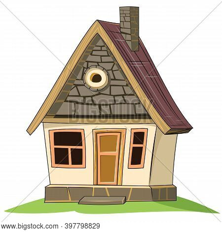 Old Village House. Fabulous Cartoon Object. Cute Childish Style. Ancient Dwelling. Tiny, Small. Isol
