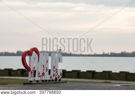 Palic, Serbia - November 20, 2019: Sign Indicating Palic Lake, In Subotica, Serbia During An Autumn