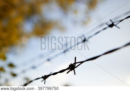 Barbed Wire In Several Rows Against The Sky