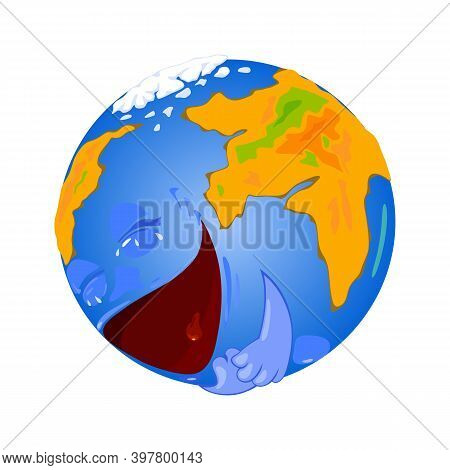 Happy World Smiling, Eyes, Hands, Mouth. Vector Character In Normal Condition, Land And Water On Pla