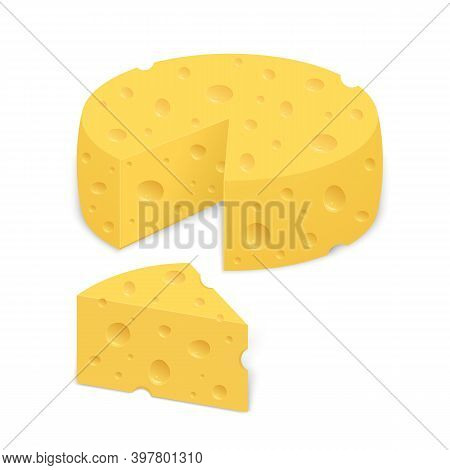 Cheese Wheel. Triangular Chunk  Of Cheese. Realistic Vector Illustration Isolated On White Backgroun