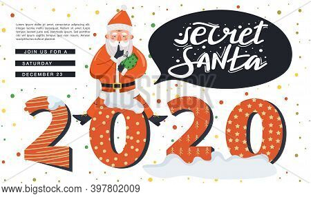 Secret Santa Invitation Landing Page Template. Santa Claus Sitting And Showing To Be Silent Gesture.