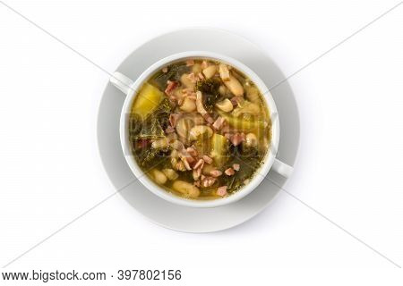 Creamy Tuscan Soup In Bowl Isolated On White Background.top View