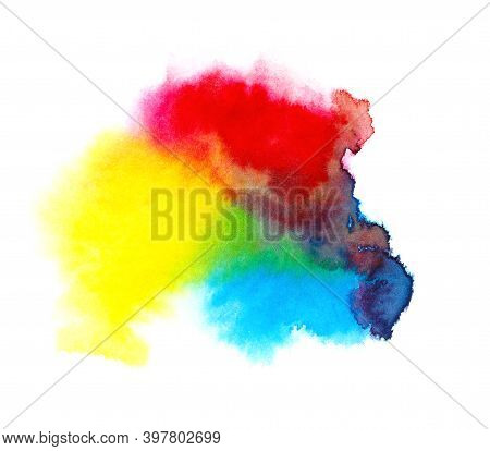Multi-colored Splashes On A White Background. Watercolor Blots. Bright Flow Of Paint. Element For De