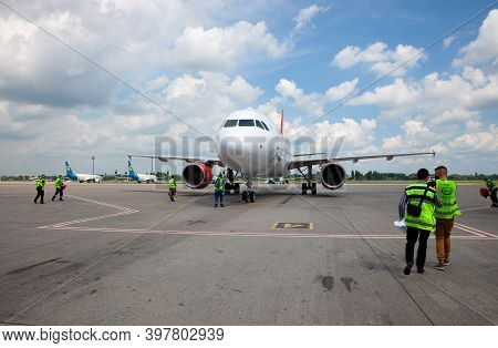 Kyiv, Ukraine - June 23, 2020: Airbus A320-214, Czech Airlines Aircraft Ok-heu. The Plane Lands At T
