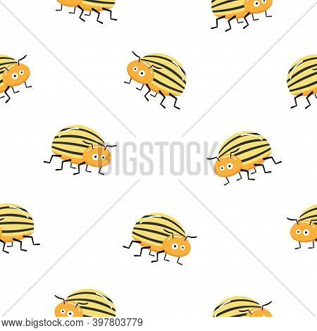 Seamless Pattern With Colorado Potato Beetle. Leptinotarsa Decemlineata. Colorado Beetle. Cartoon Ch