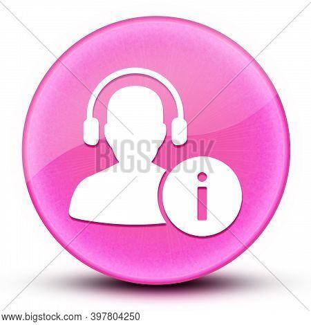 Help Desk Eyeball Glossy Elegant Pink Round Button Abstract Illustration