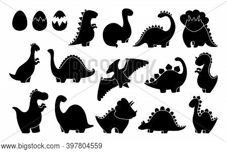 Dinosaur Black Silhouette Set Shape Design Vector