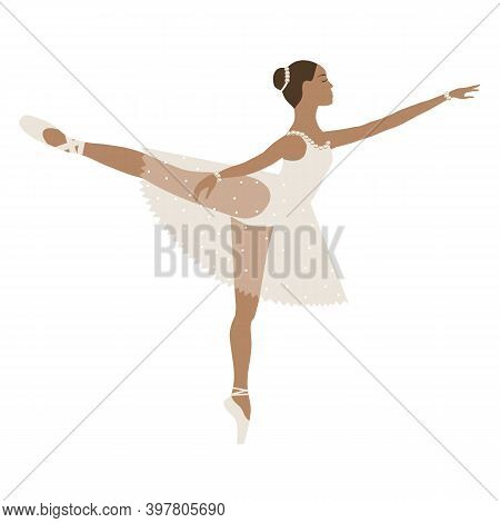 Dancing Ballerina Brown Skin, Girl In Tutu And Pointe Shoes, Beige Dress. Vector Illustration, Perfo