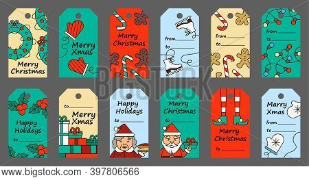 Christmas Gift Tags, Vector Flat New Years Illustrations And Congratulations, Elements On A Floral B