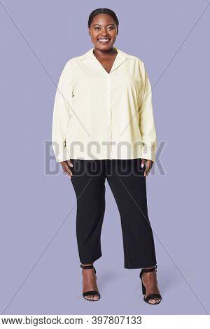 Plus size yellow shirt apparel women's fashion
