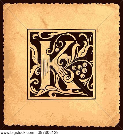 Black Initial Letter K With Baroque Decorations On An Old Paper Background In Vintage Style. Beautif