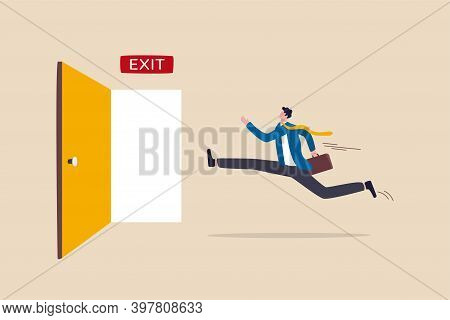 Quit Routine Job, Leaving Or Escape Way For Business Dead End To Be Success Or Exit From Work Diffic