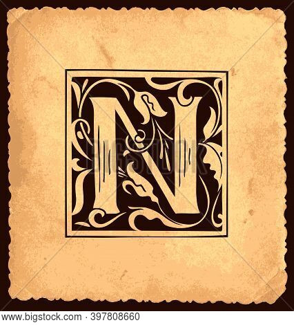 Black Initial Letter N With Baroque Decorations On An Old Paper Background In Vintage Style. Beautif