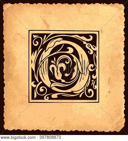 Black Initial Letter O With Baroque Decorations On An Old Paper Background In Vintage Style. Beautif