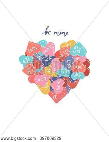 Vector Valentines Day Cute Postcard With Conversation Hearts And Be Mine Calligraphy Handwritten Phr