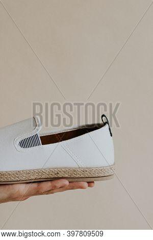 Men's white slip-on shoes mockup