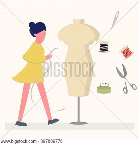 Girl Seamstress, Designer Takes Measurements From A Mannequin For Sewing Clothes, Sewing Accessories