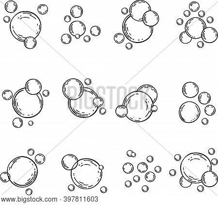 Vector Bubbles Flat Line Icons Set. Soap Foam, Fizzy Drink, Oxygen Bubble Pictogram, Effervescent Ef