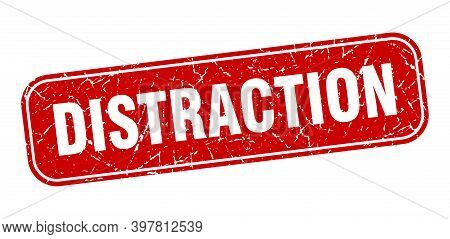 Distraction Stamp. Distraction Square Grungy Red Sign