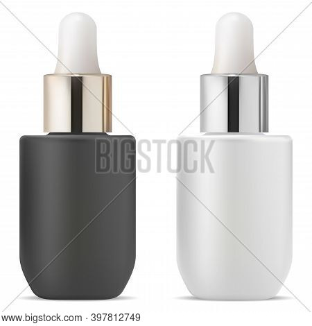 Serum Dropper Bottle. Cosmetic Essential Oil Vial Mock Up. Eyedropper Medicine Flask With Pipette, G