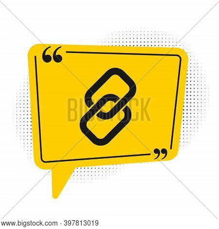 Black Chain Link Icon Isolated On White Background. Link Single. Hyperlink Chain Symbol. Yellow Spee