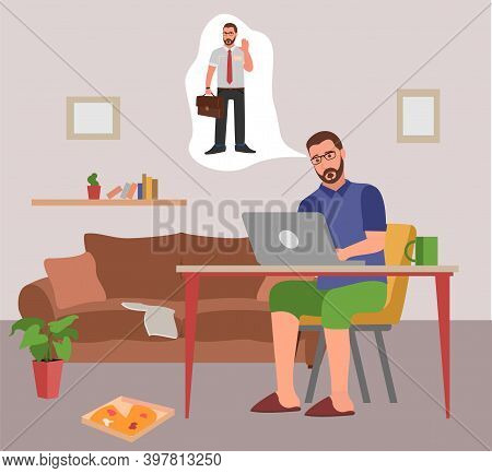 Disadvantages Of Remote Work. Freelancer In Home Clothes Dreams Of An Office Suit And Office Work. R