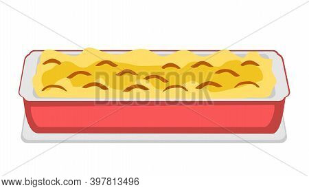 Isolated Cooking Pot Of Casserole. Illustration Vector Flat Cartoon Of Food On Happy Thanksgiving Me