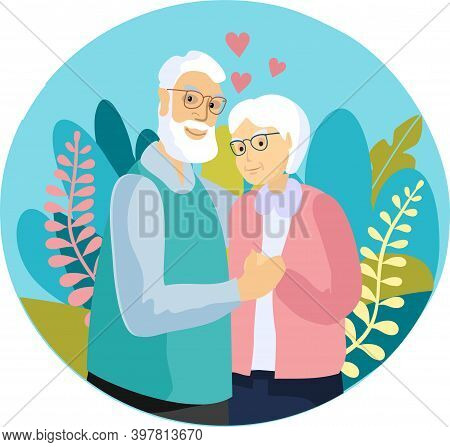 Senior Couple Take Care Of Each Other. Retired Elderly Couple Smiling Caring Elderly Couple. Happy G