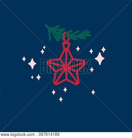 New Years Christmas Star. Vector Christmas Tree Decorations In A Linear Fashion. Festive Winter Illu