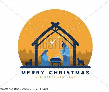 Merry Christmas - The Birth Of Jesus Banner With Nightly Christmas Scenery Mary And Joseph In A Mang