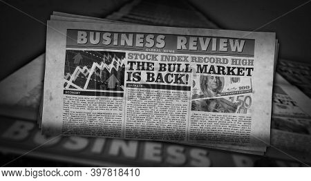 The Bull Market Back And Business Growth Up Retro Newspaper Printing Press