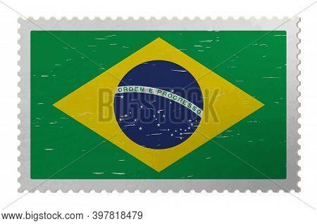 Brazilia Flag On Old Postage Stamp, Vector