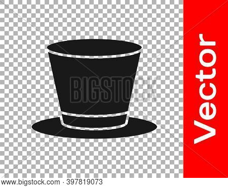 Black Cylinder Hat Icon Isolated On Transparent Background. Vector