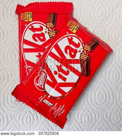 Two Nestle Kit Kat Chocolate Bar Coated Cream Filled Wafer Snack. Bars Kit Kat Is Produced By Nestle